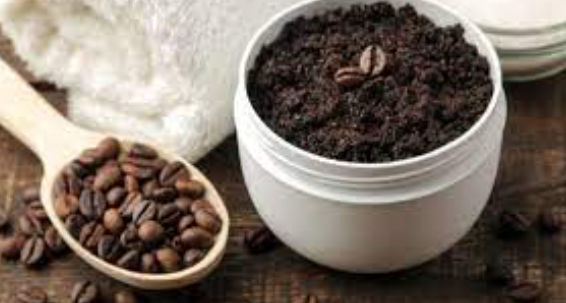 DIY beautiful white skin scrub with coffee grounds